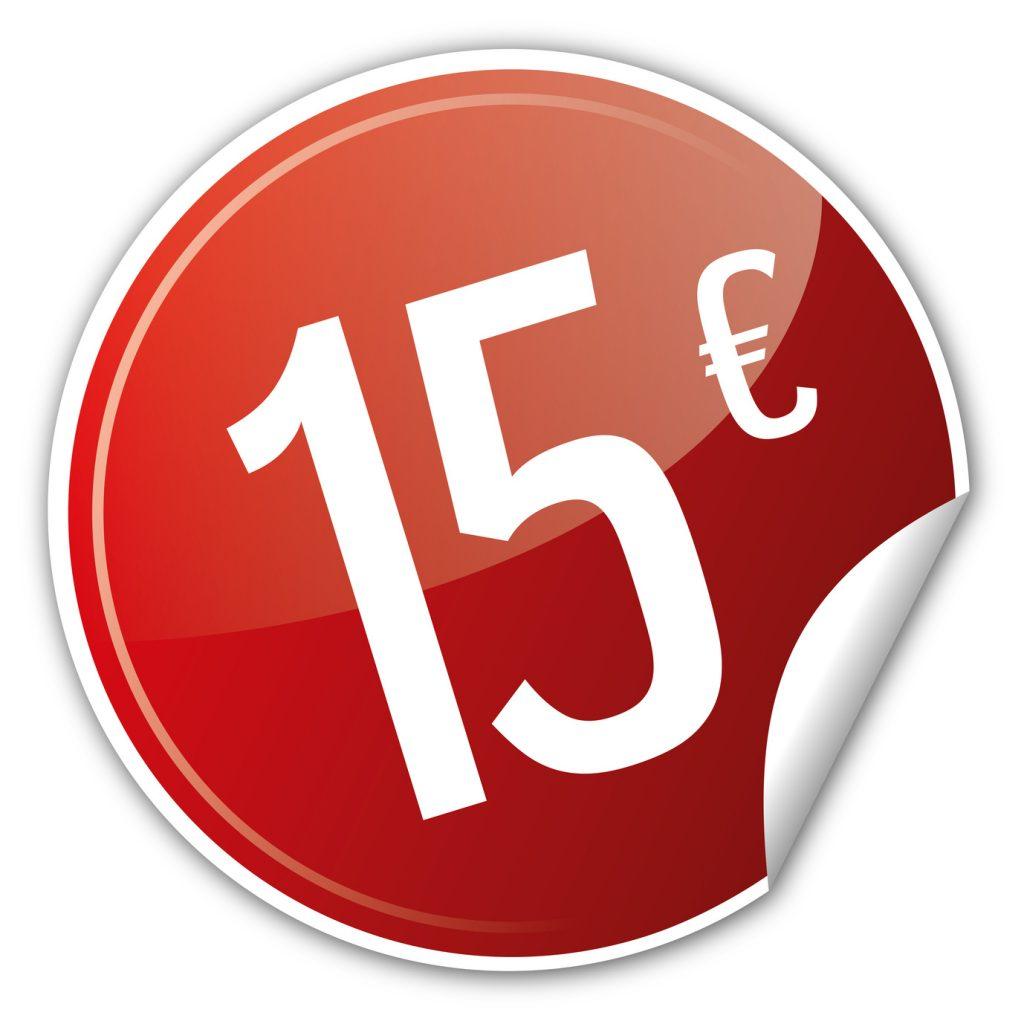 Button Rabatt - 15€ euro sparen reduziert rot